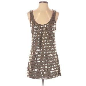 R & J Couture Olive Sequin Tank Mini Dress